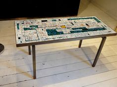 F 157 AG Table basse céramique et fer forgé - Furniture - Haute Antiques