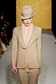 #1 Paola Frani Fall 2012. This hat is similar to the style of the late middle ages barbettes.