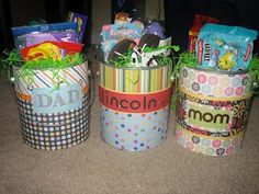 use scrapebook paper to decorate a paint bucket Easter basket