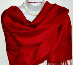 Burgundy Red Pashmina Scarf.Dark Burgundy Red by HappyIdeology