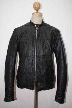 Vtg 1970s BROOKS Black Leather Motorcycle Jacket CAFE RACER Medium
