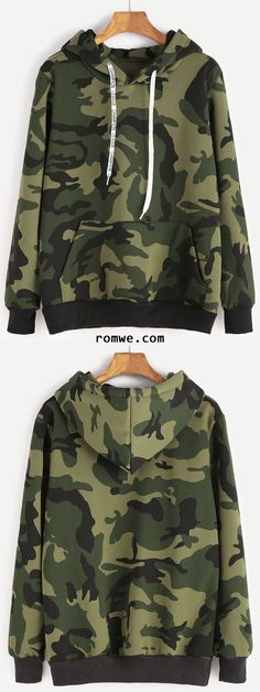 Shop Camo Print Contrast Trim Drawstring Hooded Pocket Sweatshirt at ROMWE, discover more fashion styles online. Cute Lazy Outfits, Outfits For Teens, Casual Outfits, Summer Outfits, Camo Sweatshirt, T Shirt, Camo Shirts, Trendy Hoodies, Camo Fashion