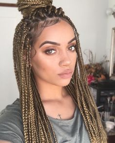 brown blonde box braids