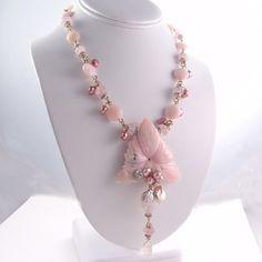 Peruvian Opal Necklace - Quartz, Gemstone, Pearl, by Kay, 2912 Pearl Gemstone, Gemstone Jewelry, Beaded Jewelry, Unique Jewelry, Peruvian Opal, Recycled Jewelry, Pink Opal, Opal Necklace, Necklace Designs