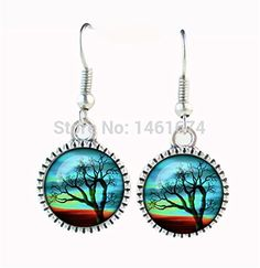 Tree of Life Earrings Silver Fishhook Wisdom Tree Earring Glass Cabochon Galaxy Earing Women Party Wedding Accessories Jewellery *** Check this awesome product by going to the link at the image.