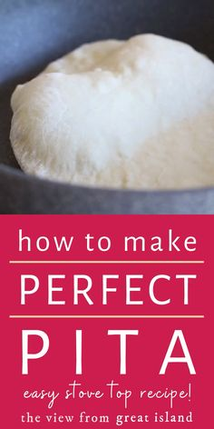 How to Make Perfect Homemade Pita Bread Every Time ~ Middle Eastern flatbread is easier to make than you think ~ never go back to the stuff in bags again. Homemade Recipe recipes no yeast videos Make Easy Homemade Pita Bread Today! Pita Recipes, Easy Bread Recipes, Vegetarian Recipes, Cooking Recipes, Fast Recipes, Homemade Pita Bread, Homemade Recipe, Stove Top Recipes, Israeli Food