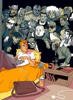 The Israeli illustrator duo Tomer Hanuka and Asaf Hanuka use their bright and vibrant cartoon style to paint a slightly darker picture of modern society, Tomer Hanuka, Art And Illustration, Satire, Tiers Monde, Issues In Society, Technology Addiction, Sketch Manga, Satirical Illustrations, Dark Pictures