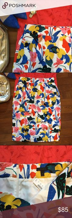 Pin tucked midi skirt in morning floral Gorgeous floral midi pencil skirt and bright summer colors. A little elastic in the back for fit and pleats across the front. Side slits. Jcrew retail style no. F2864. Brand new with tags. 30 inches long. 17 inch waist. J. Crew Skirts Midi