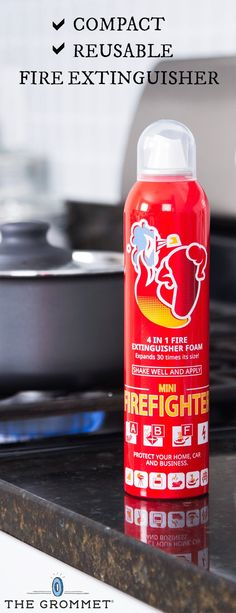 3cecf07698 A compact, reusable extinguisher that's as simple as a spray can. Its  biodegradable foam