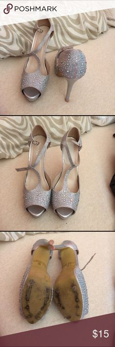 Silver Sparkly Heels Silver Sparkly heels! WORN ONCE FOR PROM! Silver Dew Shoes Heels