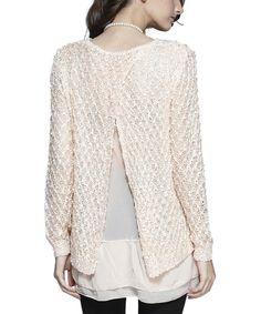 Cream Open-Back Layered Sweater | zulily