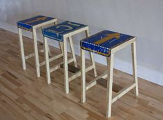 Upcycle old road signs into bar stools. Instructable from wholman.
