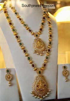 CZ Stones Gold Balls Necklace Set with Lakshmi Pendant - Indian Jewellery Designs Pearl Necklace Designs, Jewelry Design Earrings, Gold Earrings Designs, Pendant Jewelry, Beaded Jewelry, Necklace Set, Antique Necklace, Pearl Jewelry, Indian Jewellery Design