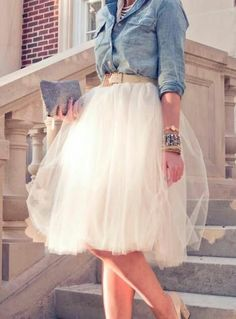 Denim and diamonds- Love it! #tulle skirt