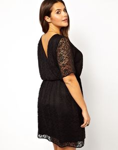 ASOS CURVE - Skater Dress in Patterned Lace