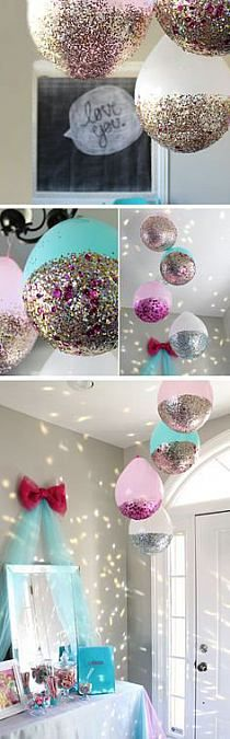 DIY Glitter Balloons-- They say these are for your next New Years party, but I say these are for your next Baby Shower! Who doesn't love Glitter balloons? Glitter Balloons, Confetti Balloons, Hanging Balloons, Mermaid Balloons, Orange Balloons, Helium Balloons, Unicorn Birthday Parties, Birthday Balloons, Birthday Crafts