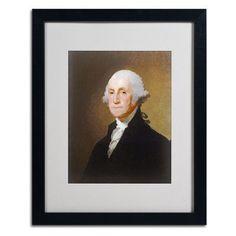 "Trademark Art 'George Washington 1821' by Gilbert Stuart Framed Painting Print Frame Color: Black, Size: 20"" H x 16"" W x 0.5"" D"