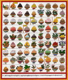 33. Classes of Medications. Plate 33 of the Blue Beryll shows all together 81 different medication, 77 herbs and 14 others. Their Tibetan names are mentioned below in dBu Can writing.  The Latin botanical names of the herbs are also mentioned.