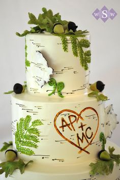 "birch tree wedding cake - perfect for an outdoorsy wedding! And I love the ""carved"" initials"