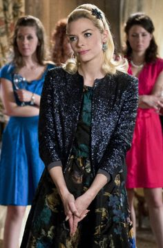 Lemon�s black and green floral dress and glitter jacket on Hart of Dixie.  Outfit Details: http://wornontv.net/14926/ #HartofDixie