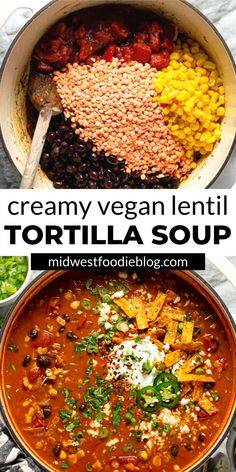 This creamy, flavor-forward, Vegan Lentil Tortilla Soup is the perfect quick and easy weeknight dinner! It takes just 20 minutes to throw together and uses just a handful of pantry staple ingredients. It's healthy but super hearty so the meat-eaters in your life won't even realize that it's totally vegetarian!