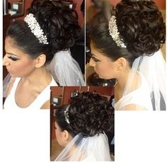 Wedding updo for a bride, veil under. Cred to Houda bazzi