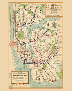 New York City subway system map - NYC subway map, vintage map restored, fine print on paper or canva Nyc Subway Map, New York Subway, Pinstriping, Vintage New York, Vintage World Maps, Carte New York, Illustrations Harry Potter, Photo New York, Nyc Train