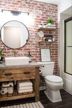 DIY Faux Brick Wall Accent brick bathroom wall Achieve this loo… – Home Decor On a Budget Bathroom Brick Bathroom, Diy Bathroom Decor, Bathroom Renos, Diy Home Decor, Accent Wall In Bathroom, Master Bathroom, Bathroom Cabinets, Bathroom Wall Ideas, Small Bathroom Ideas
