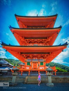 Three-story Pagoda Kiyomizu-dera Kyoto by TomCoyner