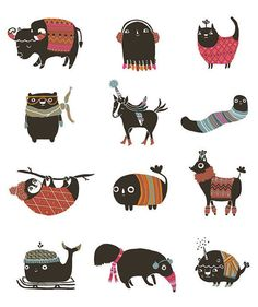 Hey, I found this really awesome Etsy listing at https://www.etsy.com/listing/89137293/winter-animals-greeting-card