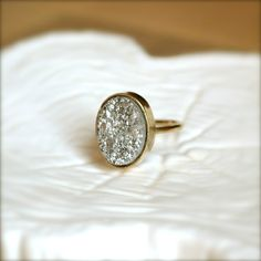 Silver Oval Druzy Gold Ring by illuminancejewelry on Etsy| I love jewelry makers who use precious stones