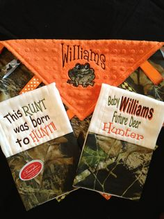 Camo and Orange Hunting Baby Tag Security Blanket by Tanniesplace
