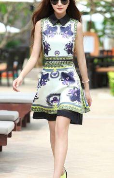 White Lapel Sleeveless Back Zipper Floral Dress - Sheinside.com