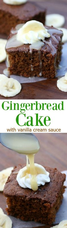 Warm gingerbread cake topped with vanilla cream sauce, bananas and whipped cream! This could be my favorite easy holiday cake recipe ever! | Tastes Better From Scratch