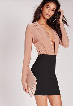 LOVE.WANT.NEED. We are seriously crushin' on this two tone dress right now, and who can blame us?! With it's dangerously deep V neck, fitted bodycon style and slinky top, this dress is killer. Pair with sky scraper heels and a clutch bag fo...