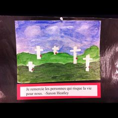 Remembrance day art. Use tape for the crosses and remove it after paint has dried. I added salt while the paint was still a little wet for added texture.