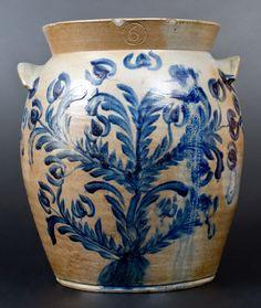 Exceptional 6 Gal. Baltimore Stoneware Jar w/ Profuse Floral Basket Decoration