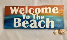 Welcome To The Beach Front Door Sign - Beach Themed Welcome Sign - Pallet Wood Tropical Entry Sign - Beach Sunset Sign - Beach House Gift by SunStroked on Etsy Pallet Wood, Wood Pallets, Pallet Projects, Art Projects, Front Door Signs, Beach Signs, Mermaid Art, Beach Cottages, Beach Themes