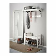 IKEA - HEMNES, Hat rack, white, Different wall materials require different types of fasteners. Use fasteners suitable for the walls in your home. Coordinates with other furniture in the HEMNES series. Hat Rack, Bench With Shoe Storage, Entryway Shoe Storage, Rack Shelf, Hemnes, Ikea, Ikea Hallway, Ikea Entryway, Storage