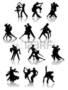 Conjunto de siluetas de pareja de baile. Ilustraci�n vectorial photo
