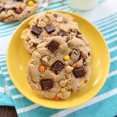 Amazingly huge, soft and chewy bakery style cookies loaded with two kinds of chips and mini Reese's pieces!