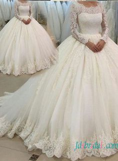 Modest long sleeves lace ball gown wedding dress