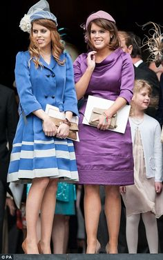 Princess Beatrice (left) and Princess Eugenie outside St Paul's Cathedral after the Diamond Jubilee Thanksgiving service on 5th June 2012