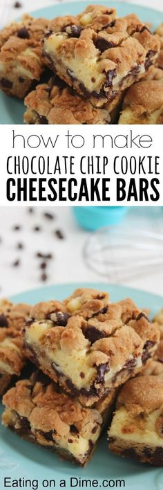 Chocolate Chip Cookie Cheesecake Bar recipe.  These are just quite delicious! They are fancy enough to serve when company is over, but easy enough to make any day. Our family just loves them. Find out how to make them here!