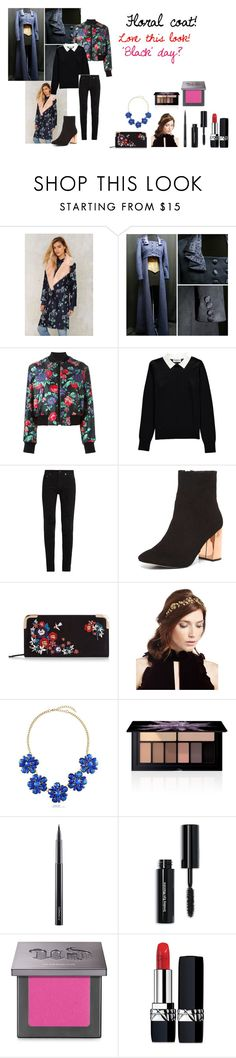 """""""For Scarlett (friend) - Scarlett's ideal wardrobe: #312: Floral coat!"""" by sarah-m-smith ❤ liked on Polyvore featuring MSGM, Essentiel, Yves Saint Laurent, Dorothy Perkins, Jennifer Behr, BERRICLE, Smashbox, MAC Cosmetics, Bobbi Brown Cosmetics and Urban Decay"""