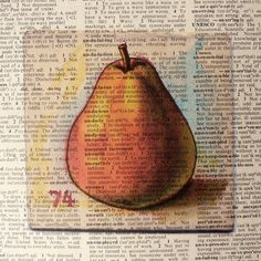 Dictionary Art Print  Upcycled Vintage Paper Pear
