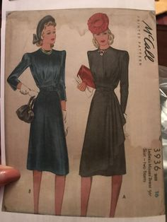 McCall 3936: Ladies' and Misses' dress pattern from 1940