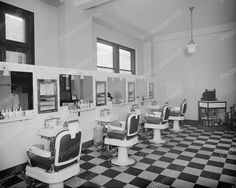 Barber Shop Chairs 1920's Vintage 8x10 Reprint Of Old Photo