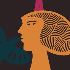 """O desenho """"A Moça que Beijou o Pássaro Embaixo de um Pé de Pensamento"""" aborda meus três temas recorrentes (mulher, pássaro e árvore) e tem inspiração nos temas do cordel nordestino, no universo mágico, narrativo e poético do romanceiro popular. O traço é depurado buscando a simplicidade da forma com cores fortes e contrastantes."""