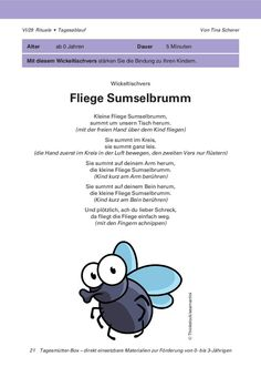 Wickeltischvers: Fliege Sumselbrumm - Klett Kita and parenting Kindergarten Portfolio, Kindergarten Songs, Parental Rights, Kids Sand, Susa, Positive Discipline, New Parents, Raising Kids, Social Platform